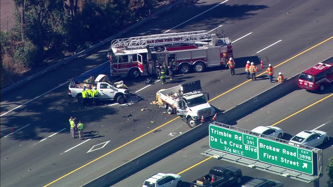 This image from SKY7 shows a truck accident blocking southbound lanes of Highway 101 in San Jose, Calif.