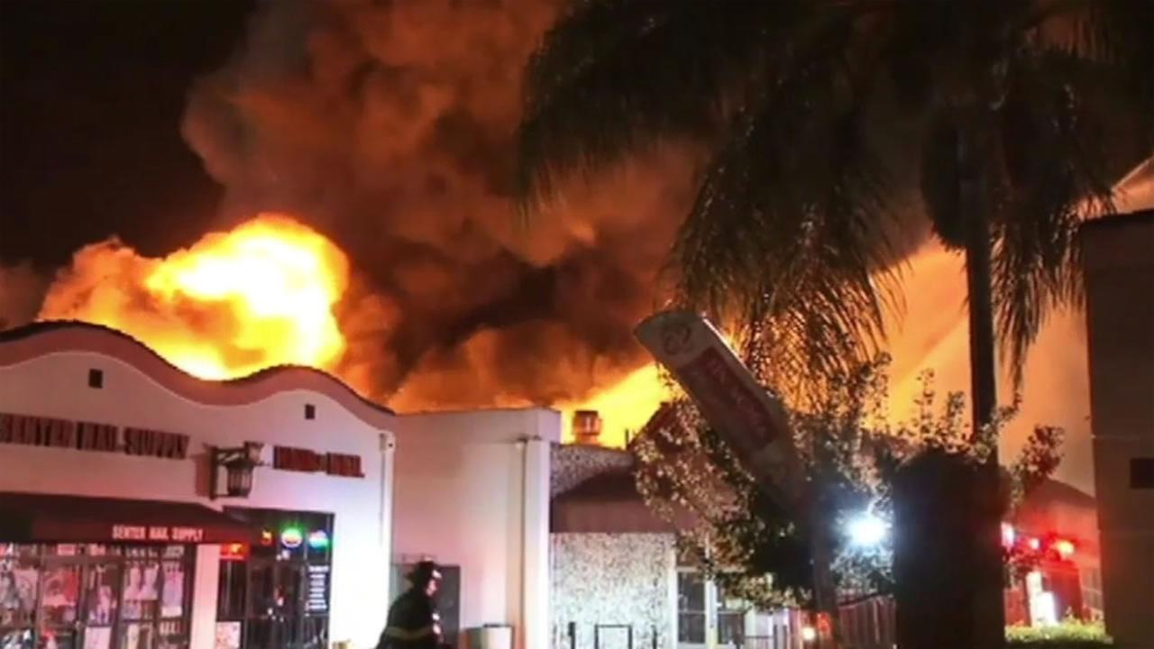 A 4-alarm fire broke out at Cho Senter Foods in San Jose, Calif. on Sunday, October 4, 2015.