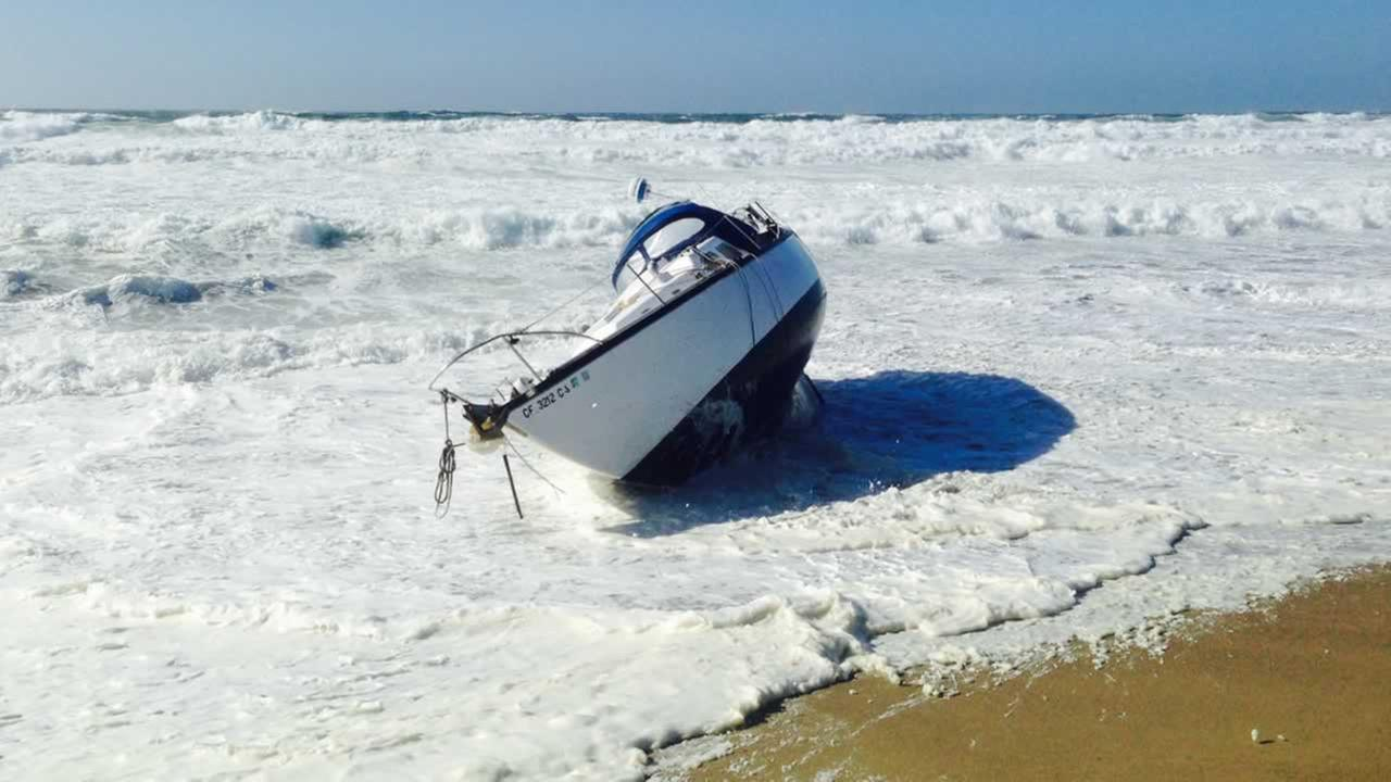 The Marin County Fire Department was alerted to a 32 sailboat in distress near Ten Mile Beach off of the Point Reyes National Seashore on Saturday, Oct. 3, 2015.