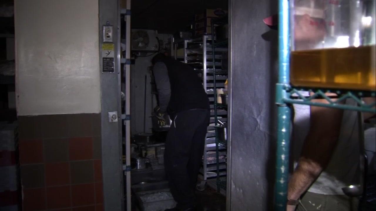Man in a fridge in Calistoga, California on Tuesday, October 16, 2018.