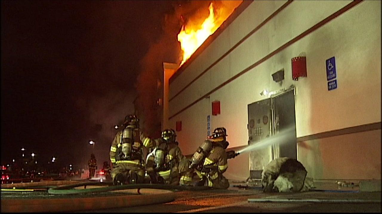Fire at Kentucky Fried Chicken restaurant in Antioch, California on October 17, 2018.