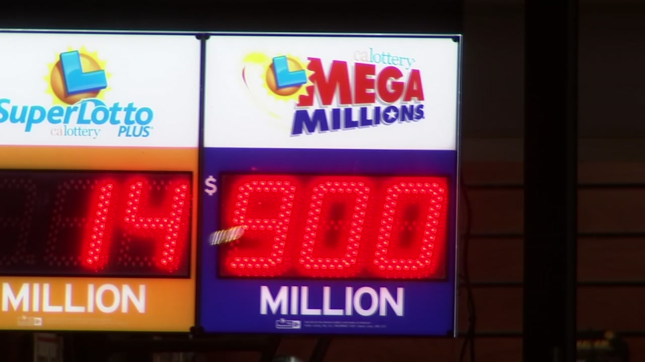 An electronic sign is seen displaying the Mega Millions jackpot amount in this undated image.