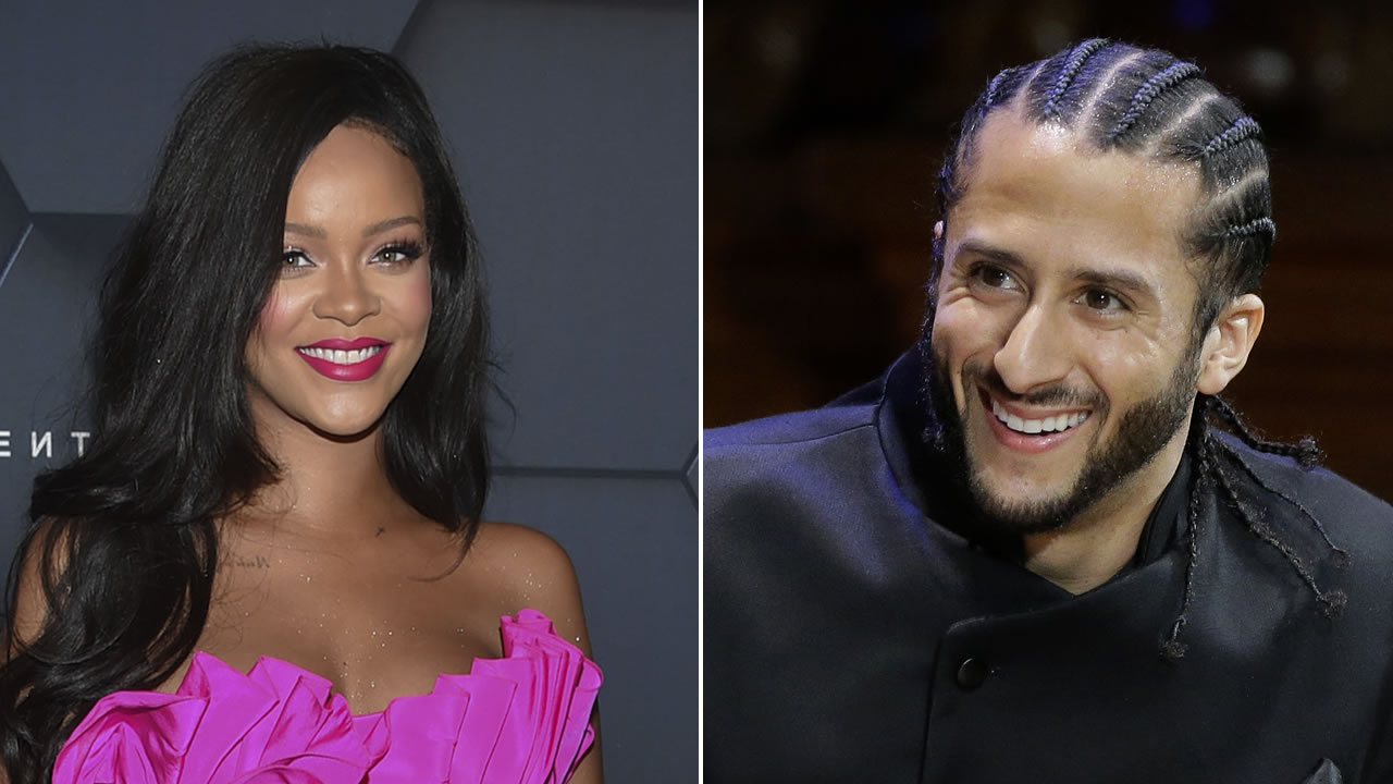 RIhanna is pictured, left, and Colin Kaepernick is pictured, right.