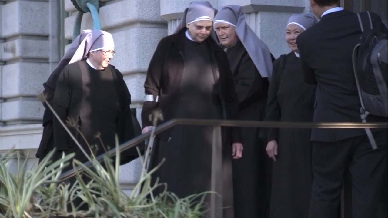 Seven nuns from the Little Sisters of the Poor listened in court as attorneys argued over whether the nuns should have to hand out contraceptives.