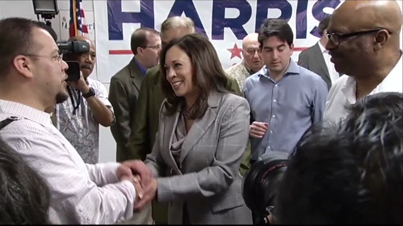 Sen. Kamala Harris, D-Calif., shakes hands in this undated file photo.