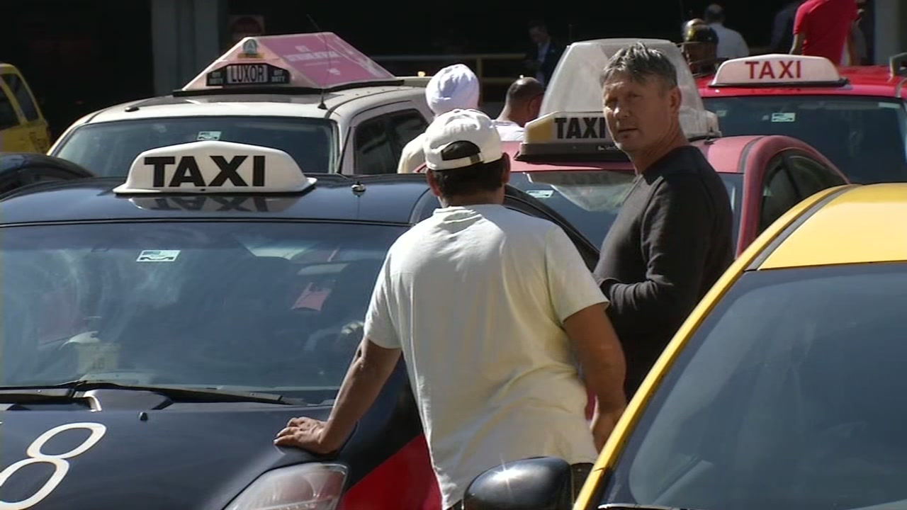 Taxi drivers at San Francisco International Airport on Oct. 19, 2018.