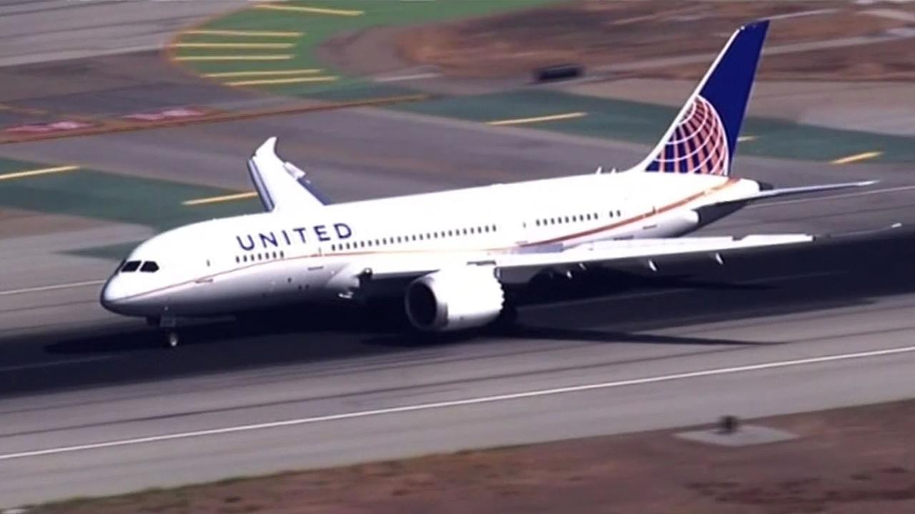 A United Airlines flight lands on the runway in this undated photo.