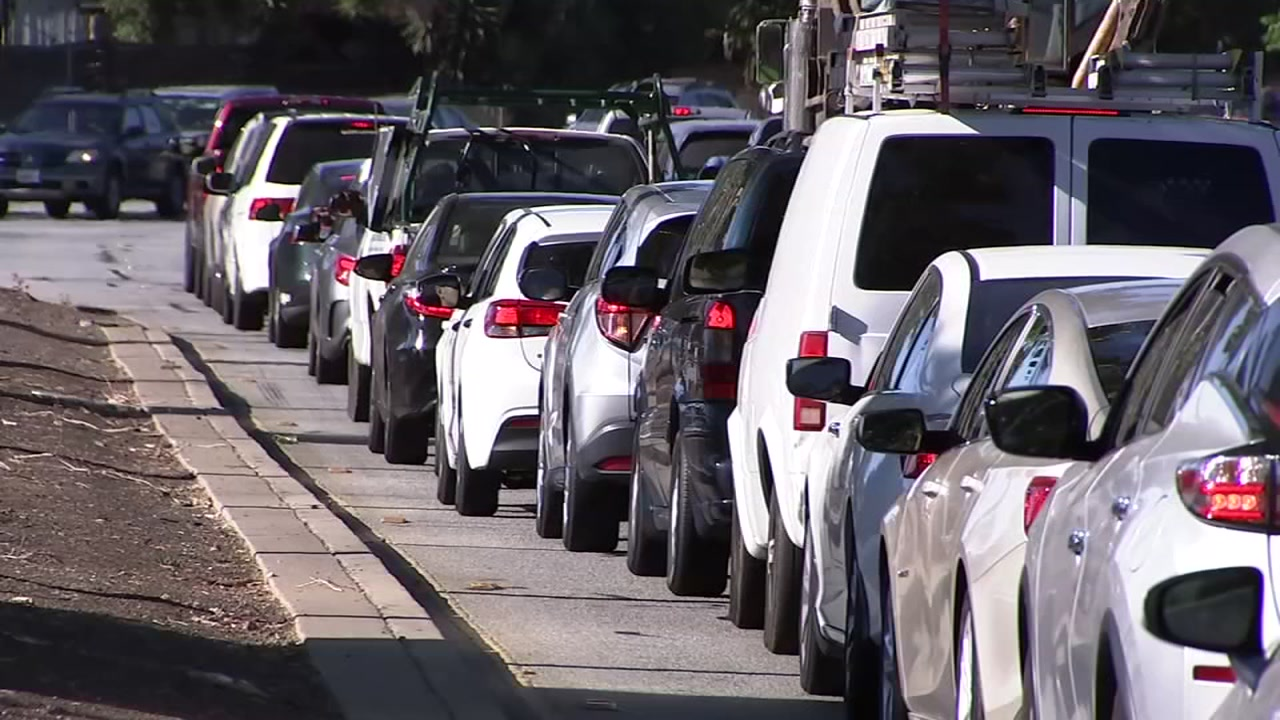 Traffic is seen backed up in Palo Alto, Calif. in this undated image.