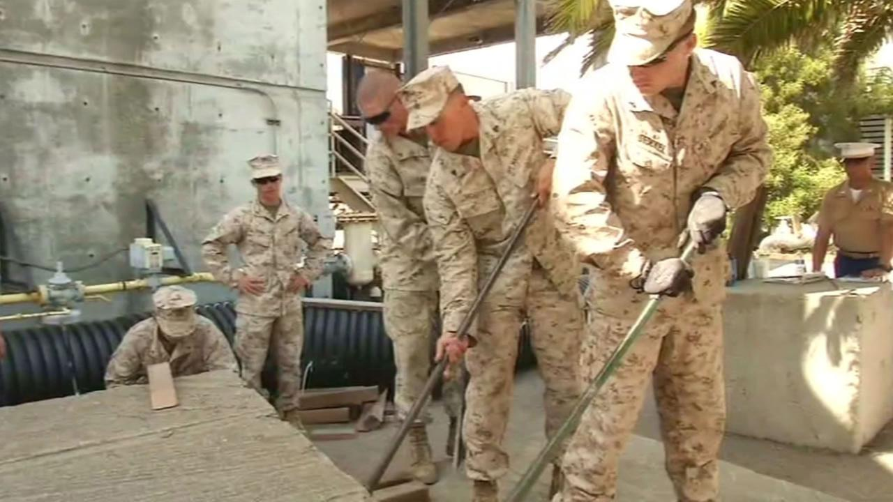 A group of Marines and sailors received training from the San Francisco Fire Department on disaster response during Fleet Week Sept. 7, 2015 on Treasure Island.
