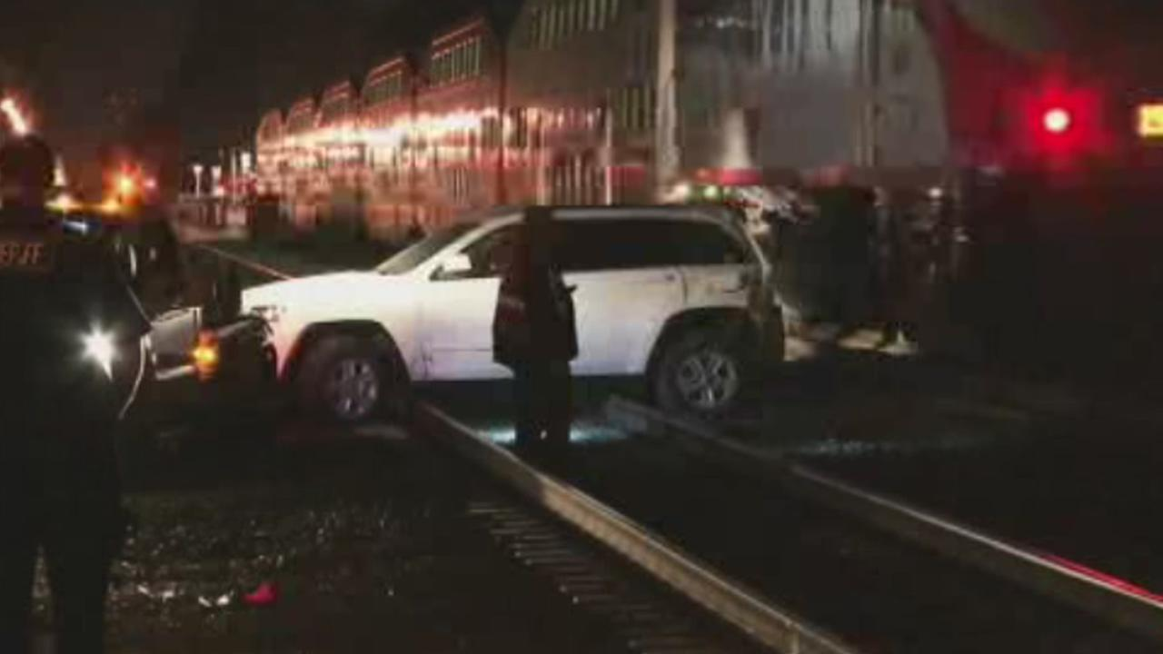 Caltrain collided with a vehicle on Wednesday, October 8, 2015, in Burlingame, Calif.