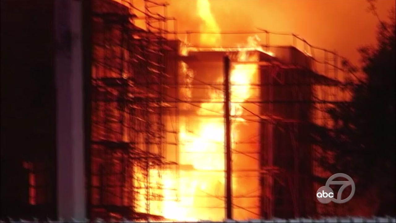 Fire at apartment building under construction in Oakland, California on Monday, October 23, 2018.