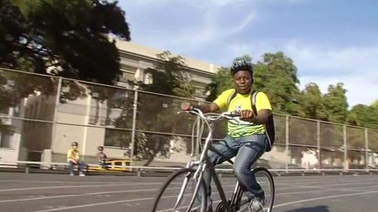 A student at Francisco Middle School in San Francisco practices riding a bike Oct. 8, 2015.
