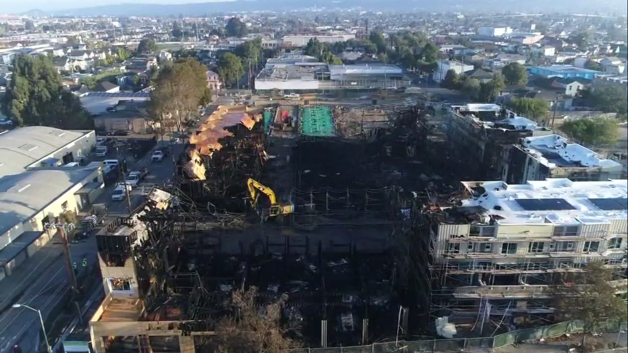 DRONEVIEW7 was over whats left of a building after a massive fire in Oakland, Calif. on Tuesday, Oct. 23, 2018.