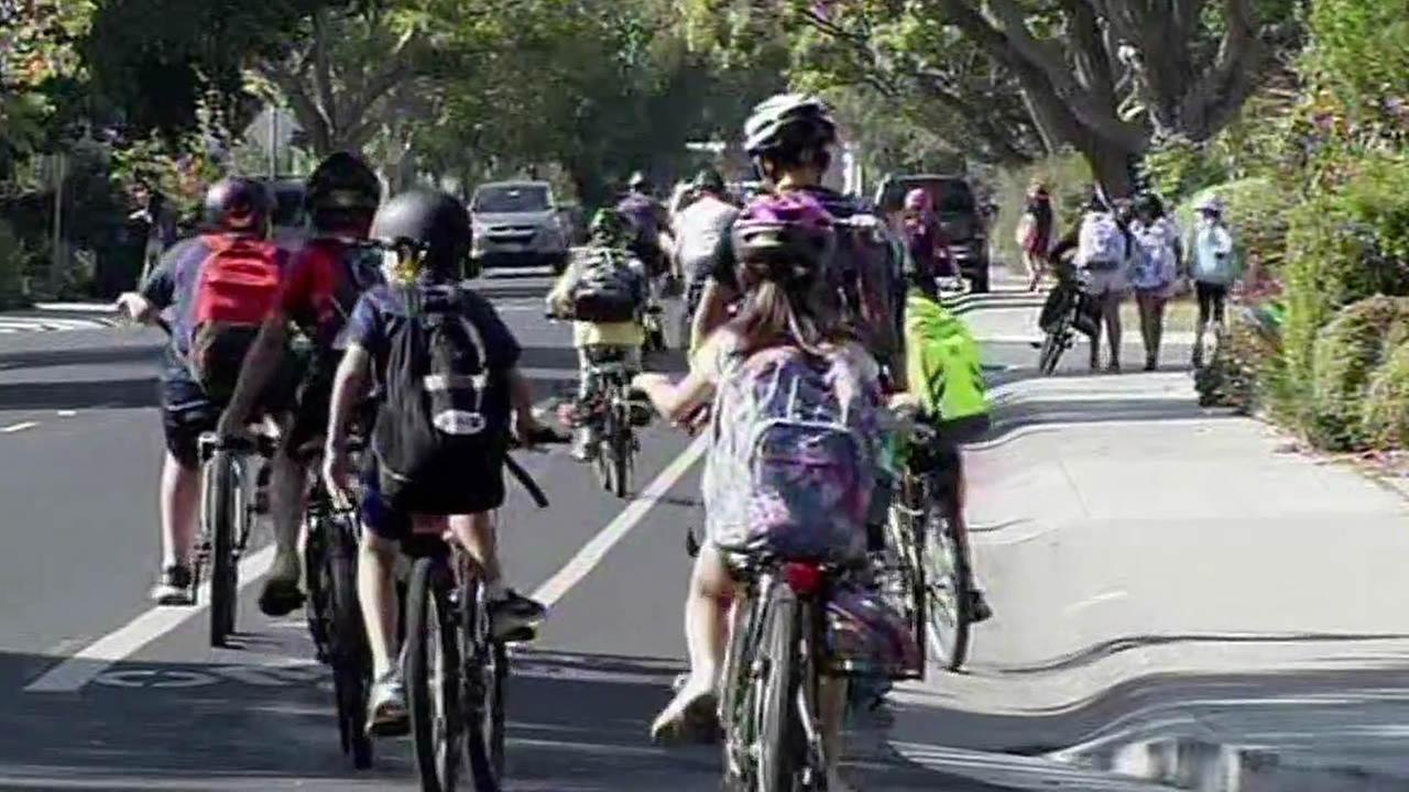kids riding their bikes