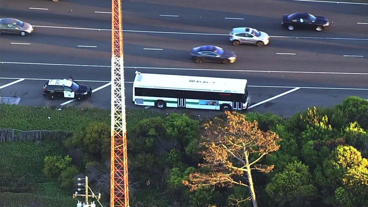 SKY7 is over a crash involving an AC Transit bus on the Bay Bridge on Thursday, Oct. 25, 2018.