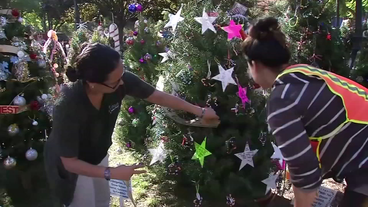 Organizers prep for Christmas in the Park, an annual walk-through event, in downtown San Jose on Oct. 25, 2018.