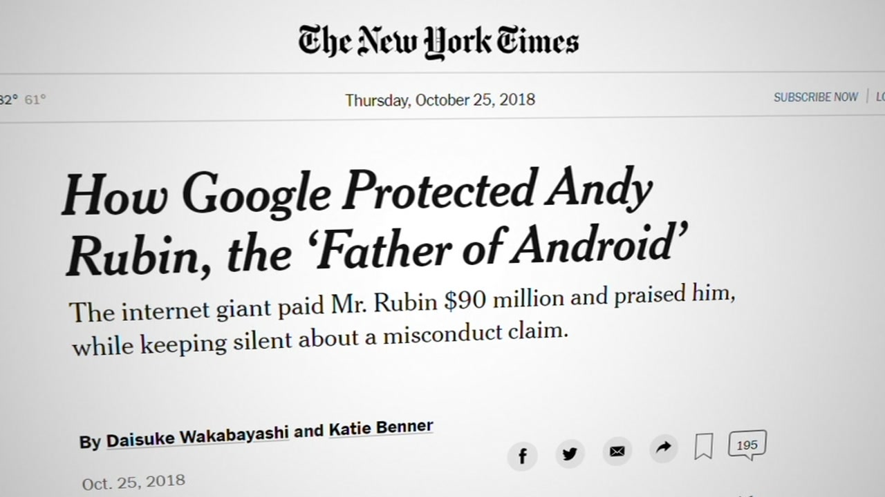 A New York Times story published on Oct. 25, 2018, alleges Google protected executives credibly accused of sexual misconduct.