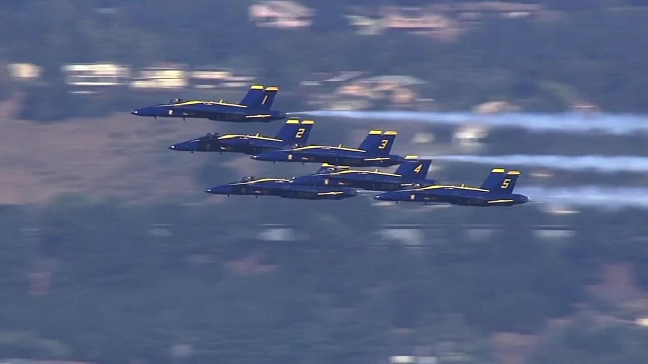 The Blue Angels soared above San Francisco on Friday, October 9, 2015 with their precision flying.
