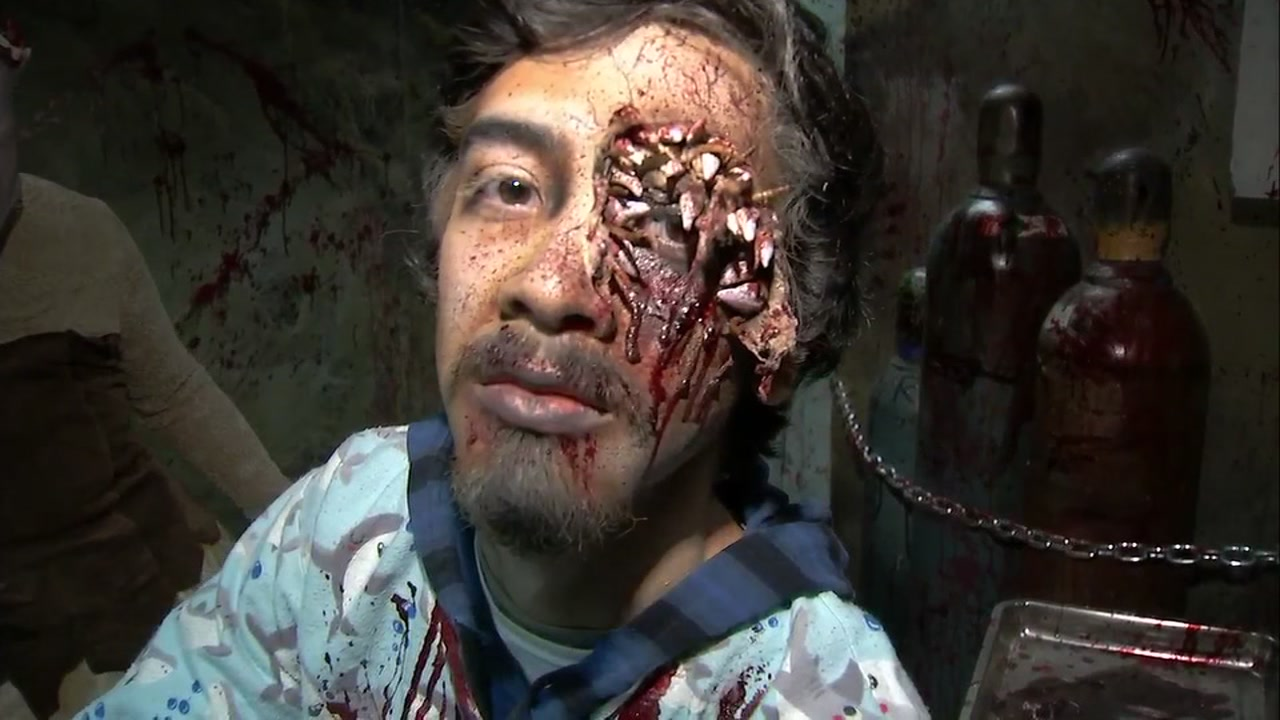 An actor in gory makeup at Great Americas Halloween Haunt attraction in Santa Clara, Calif., on Oct. 26, 2018.