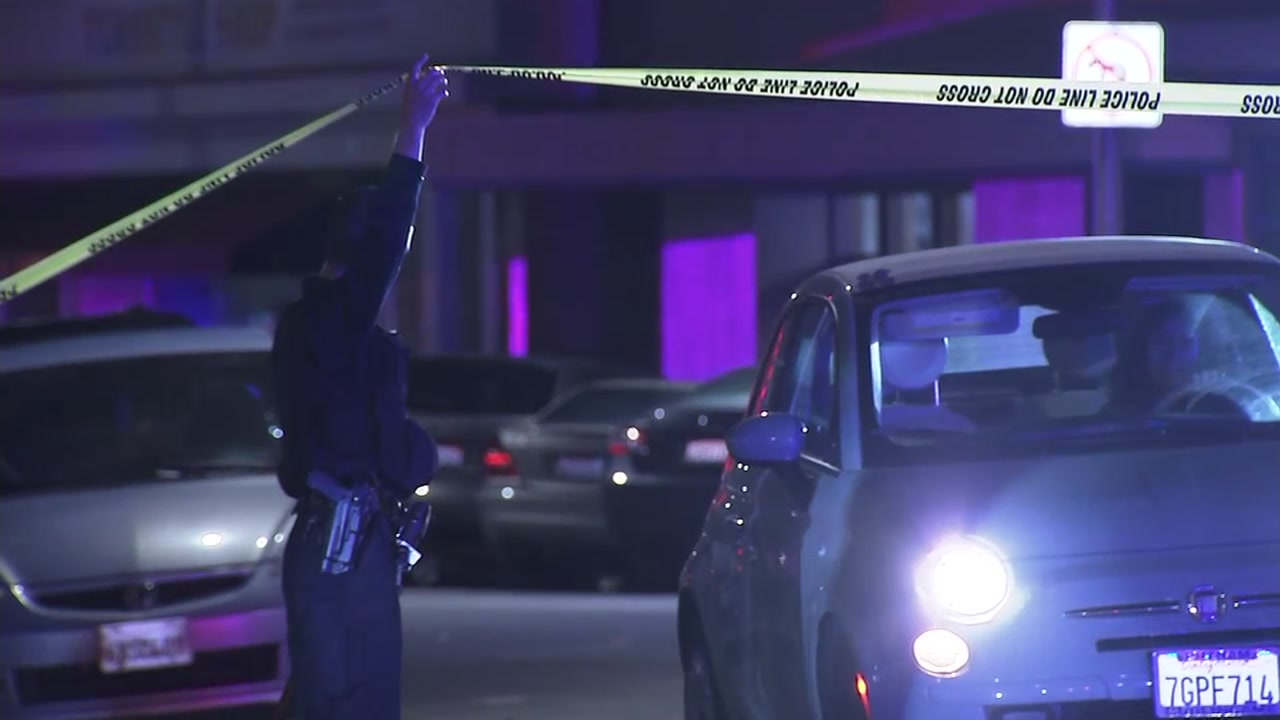 Police search for suspects in San Mateo, Calif., after a man was shot at the San Mateo Caltrain station on Friday night.