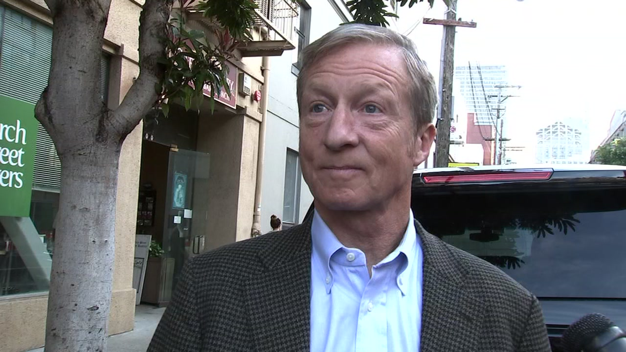 Democrat billionaire Tom Steyer reacts to being one of the targets of a mail bomb in San Francisco on Oct. 26, 2018.