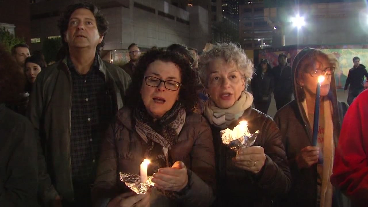 People gathered outside the Contemporary Jewish Museum in San Francisco on Saturday to mourn those who died in the Pittsburgh synagogue shooting.