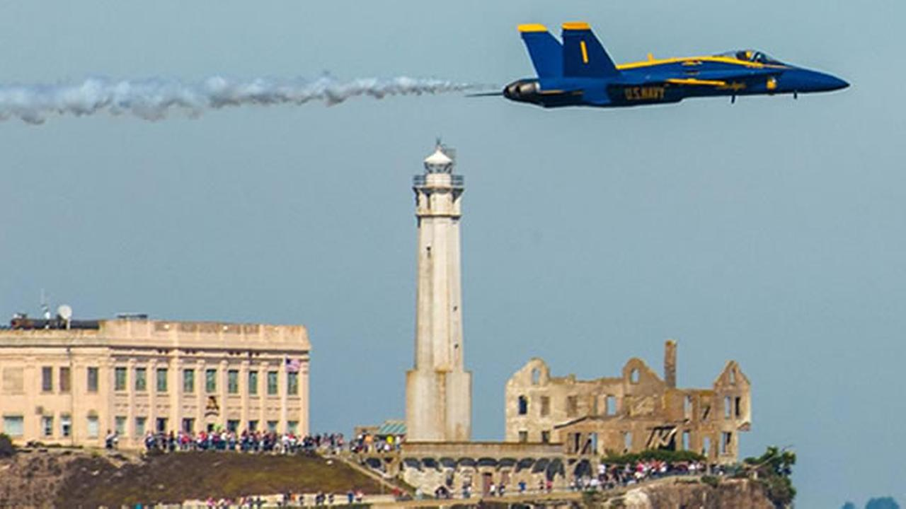 The Fleet Week air show featuring the Navys Blue Angels and other military aircrafts took flight over the San Francisco Bay on Saturday, October 10, 2015.