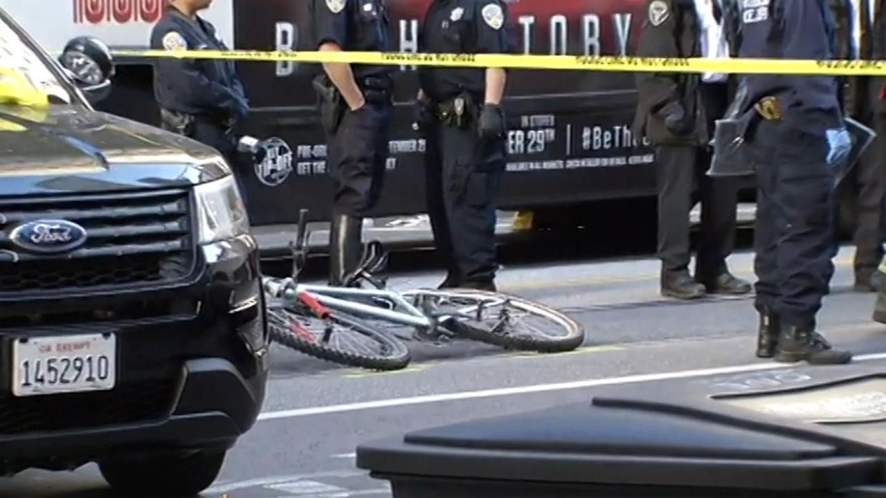 A bicyclist was fatally struck by a Muni bus on Market Street in San Francisco, Calif. on Sunday, October 11, 2015.