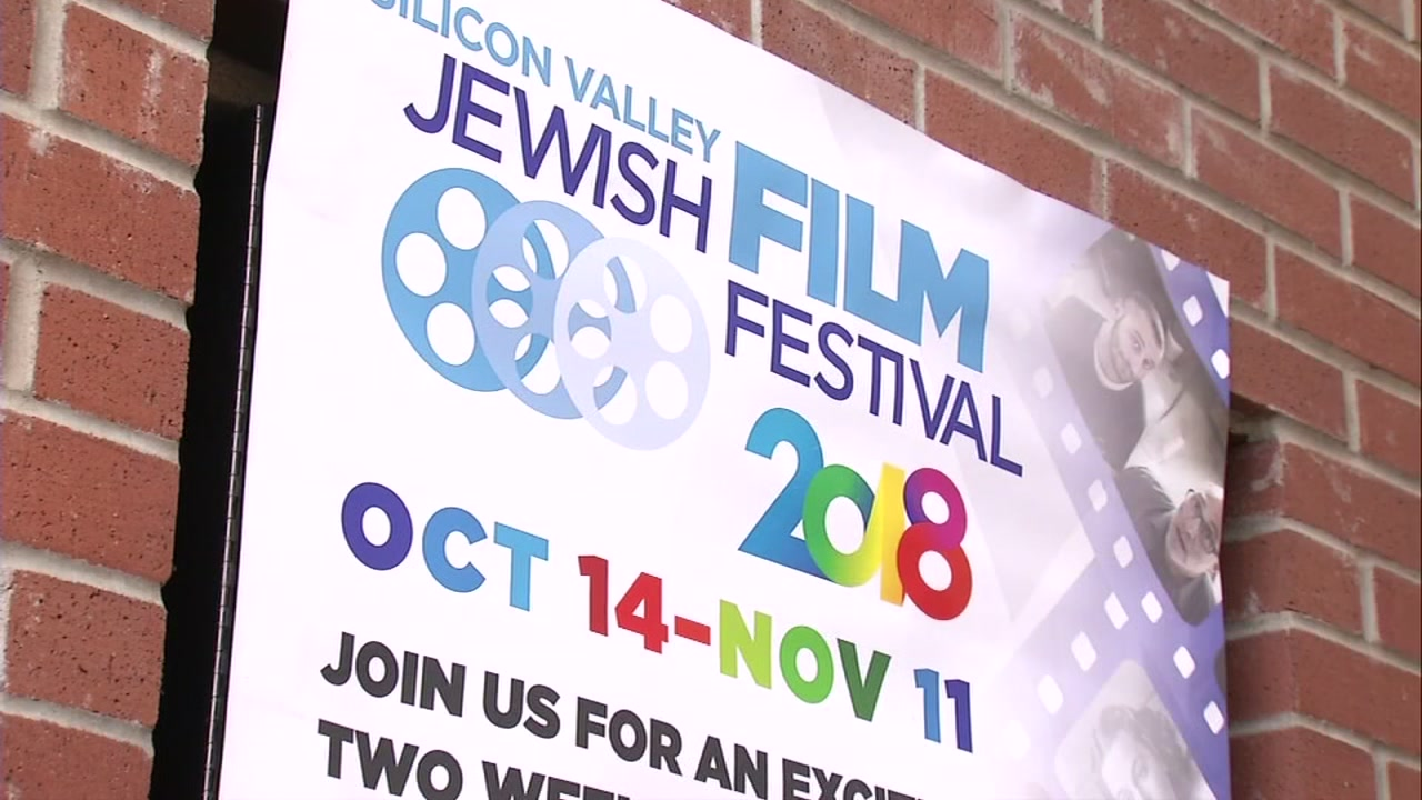 A poster advertising the Silicon Valley Jewish Film Festival is pictured on Monday, Oct. 29, 2018 in San Jose, Calif.