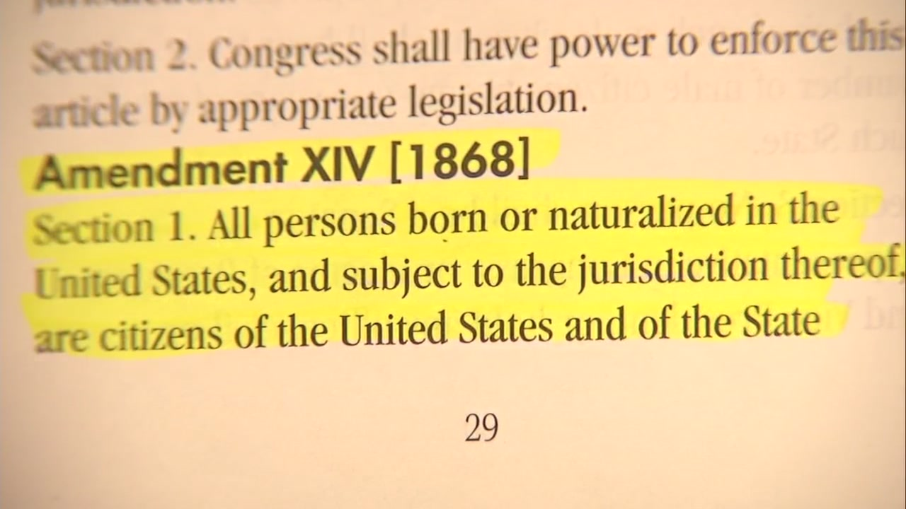 Highlighted text of the 14th amendment is seen in this undated image.