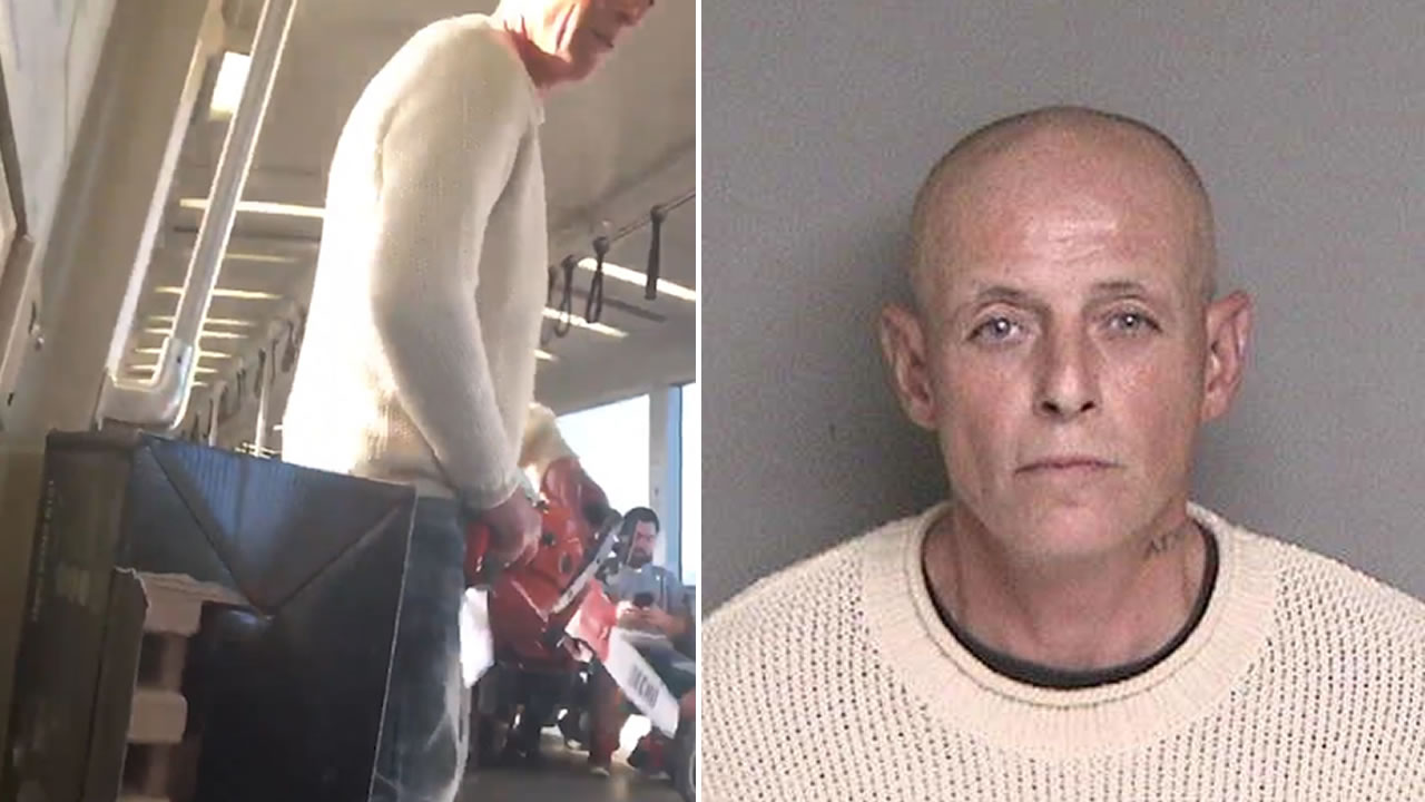 Patrick Bingman is pictured holding a chainsaw on a BART train, left, and in his mugshot, right.
