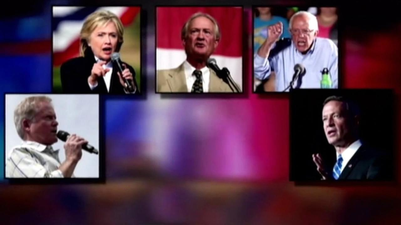 This undated image shows the Democratic presidential candidates ahead of the debate in Las Vegas on October 13, 2015.