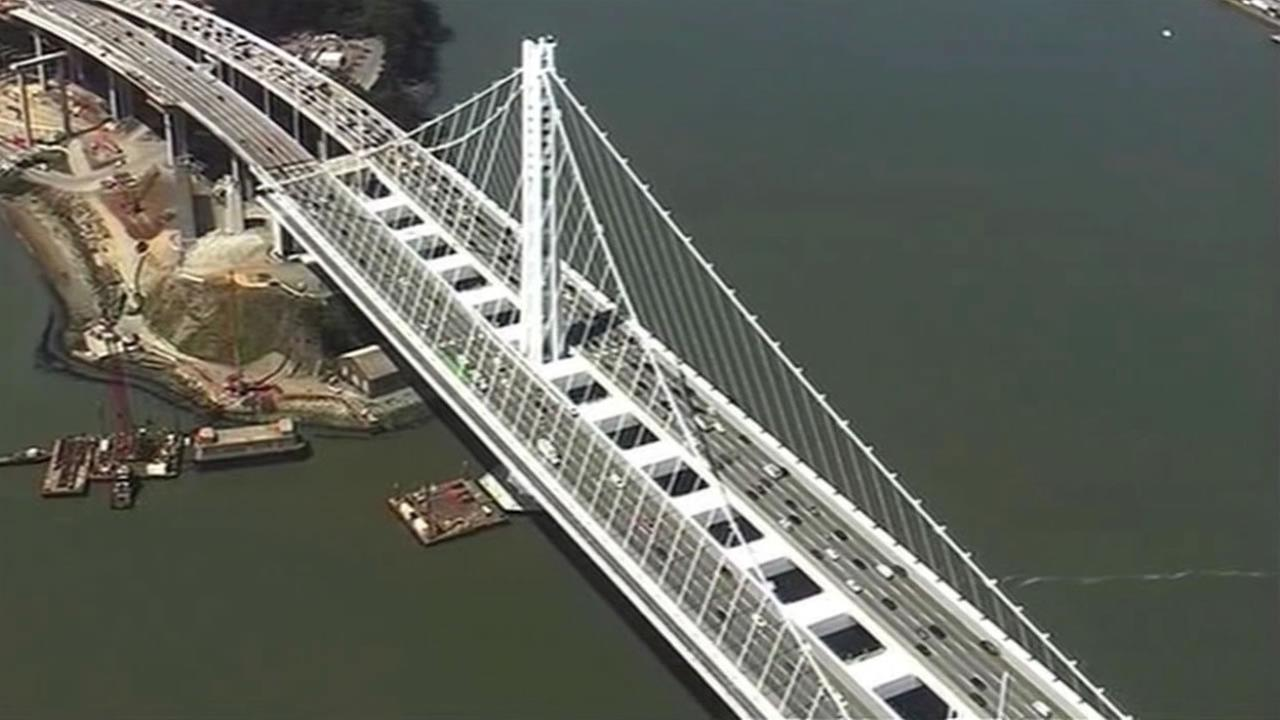 This undated photo shows the new eastern span of the Bay Bridge near Yerba Buena.