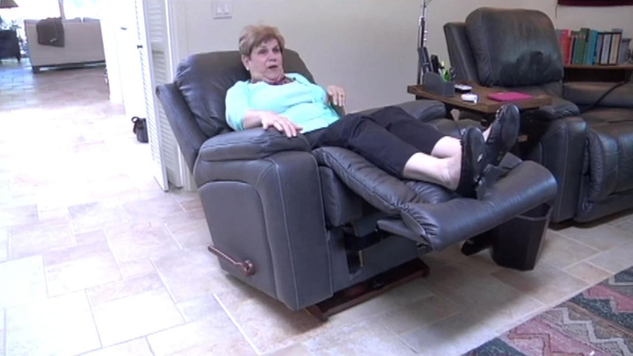 East Bay resident Joan Brown reclines in her La-Z-Boy chair.