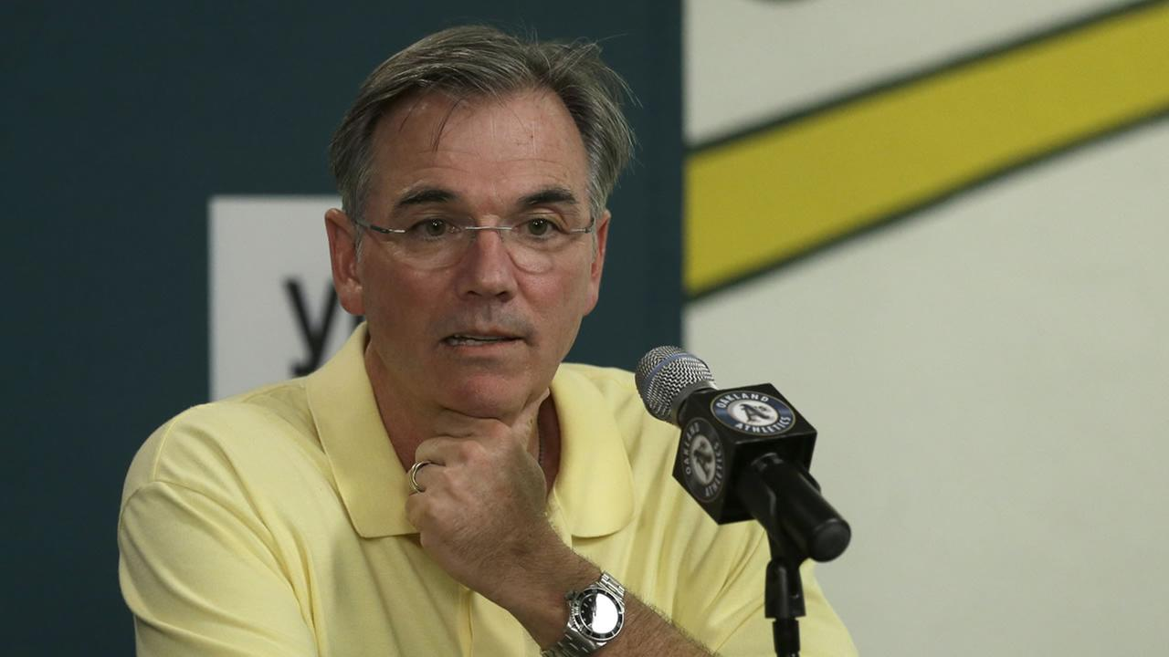 Oakland Athletics executive vice president Billy Beane during a media conference Wednesday, Sept. 9, 2015, in Oakland, Calif.
