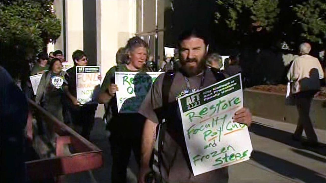 Faculty protest at City College of San Francisco, Tuesday, October 20, 2015.
