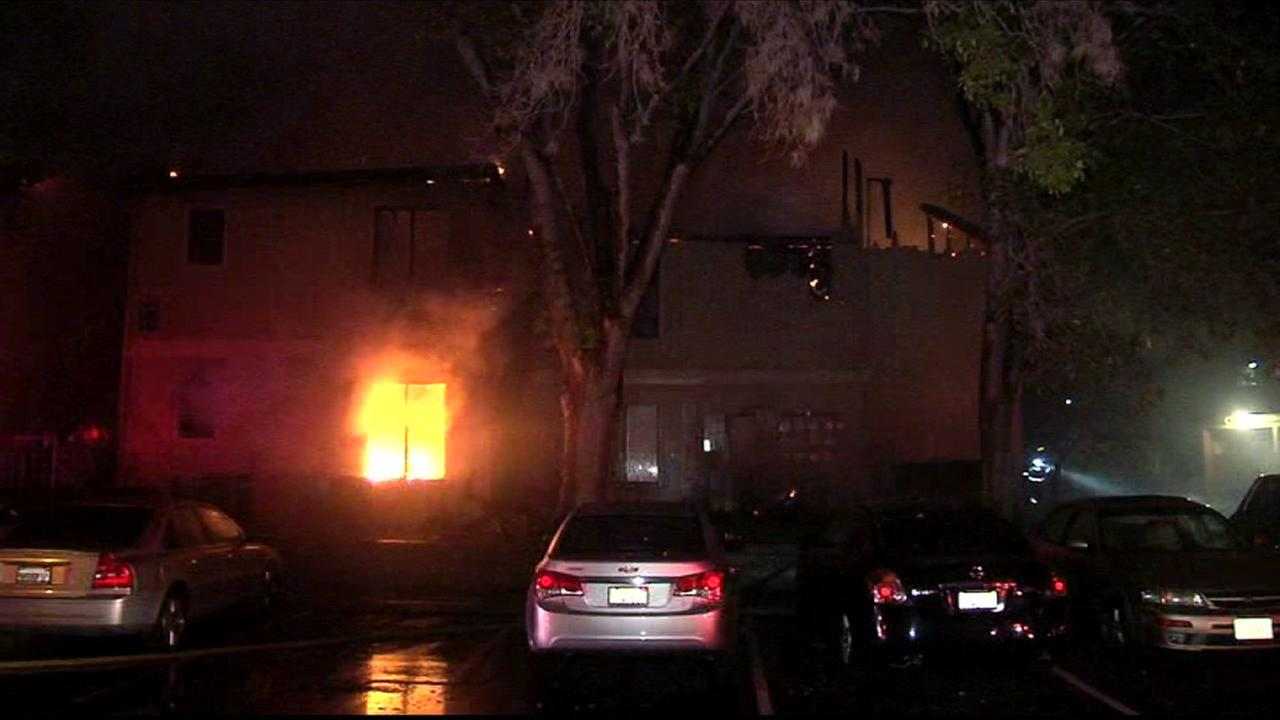 Fire at apartment complex in Suisun City, California, Friday, October 23, 2015.