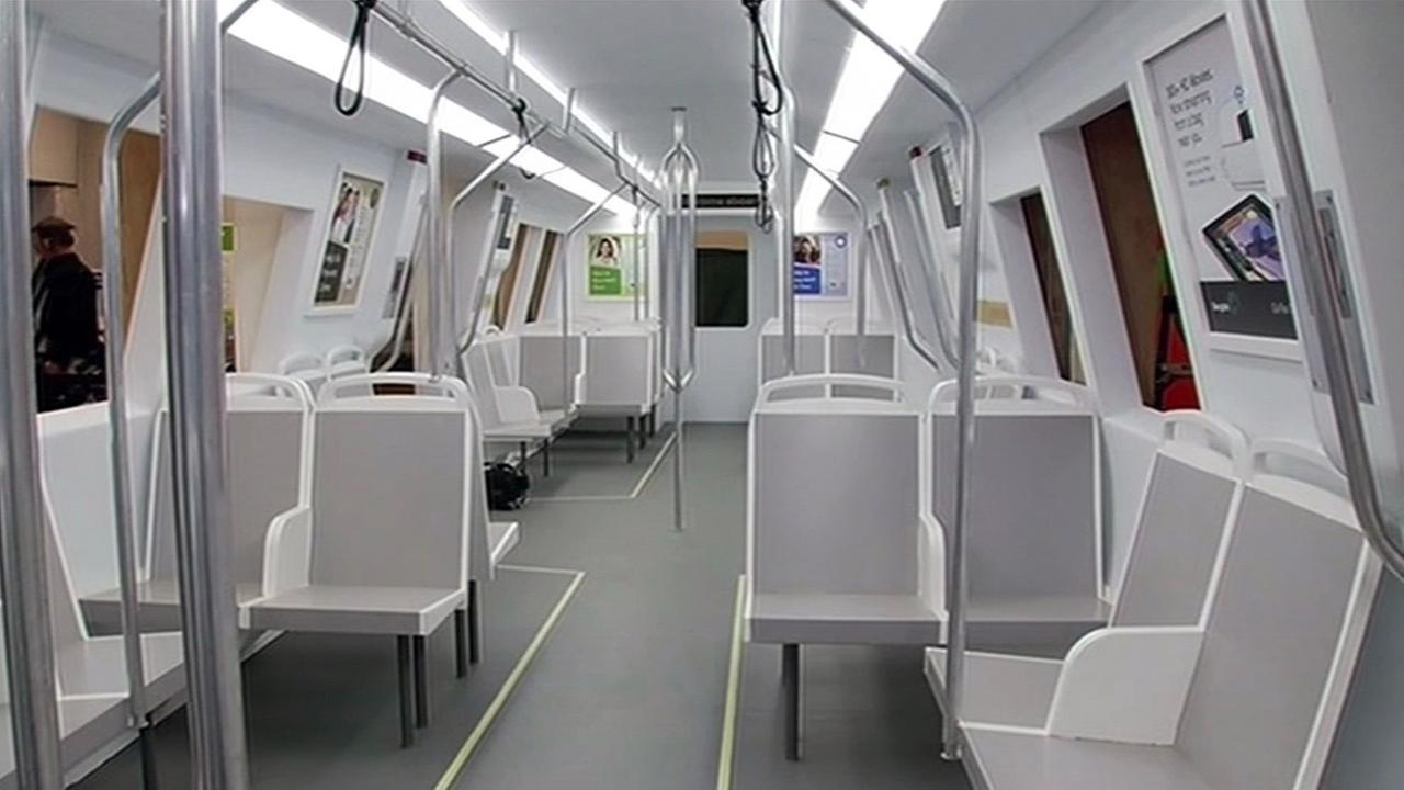 New BART car  that will be used for service beginning December, 2016.