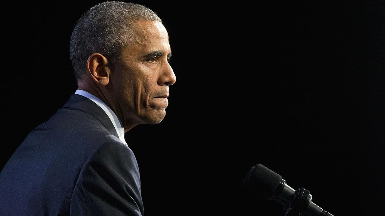 FILE: President Barack Obama pauses while speaking at the 122nd International Association of Chiefs of Police Annual Conference, Tuesday, Oct. 27, 2015, in Chicago.