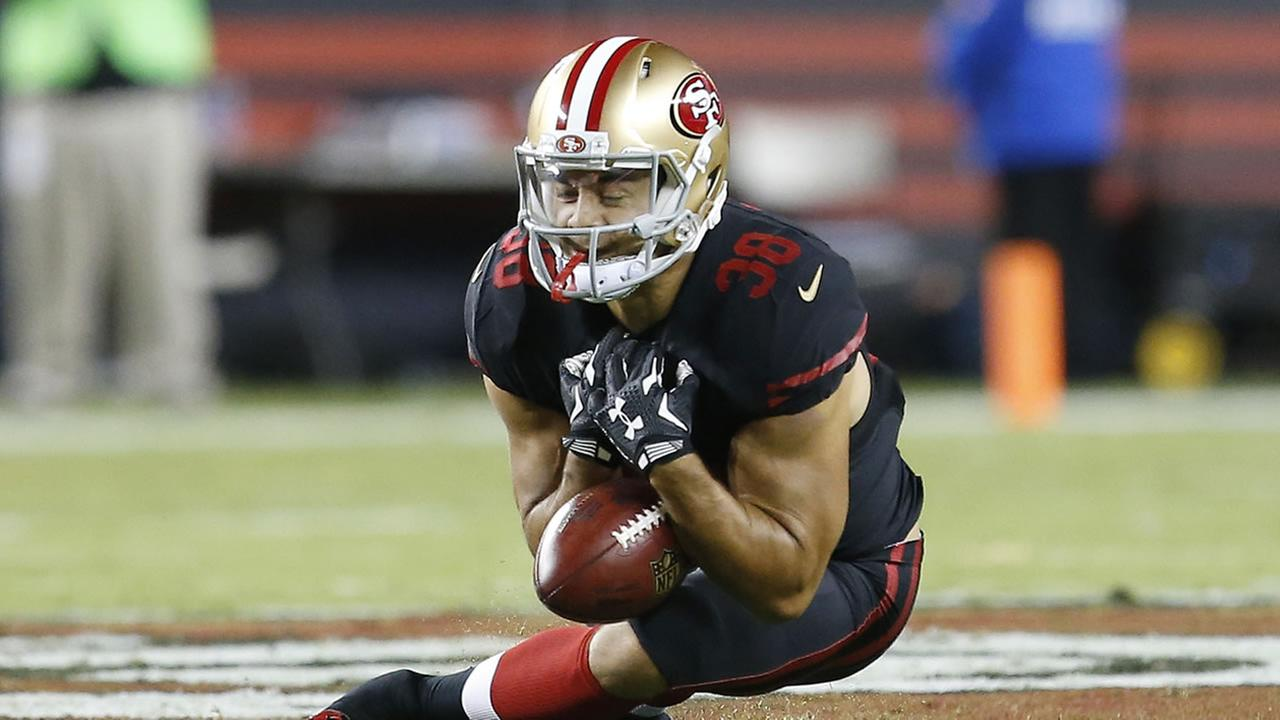 San Francisco 49ers Jarryd Hayne fumbles a punt during the first half of an NFL football game in Santa Clara, Calif., Monday, Sept. 14, 2015.
