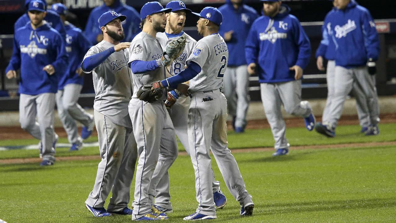 The Kansas City Royals celebrate their win against the New York Mets in Game 4 of the Major League Baseball World Series Saturday, Oct. 31, 2015, in New York.