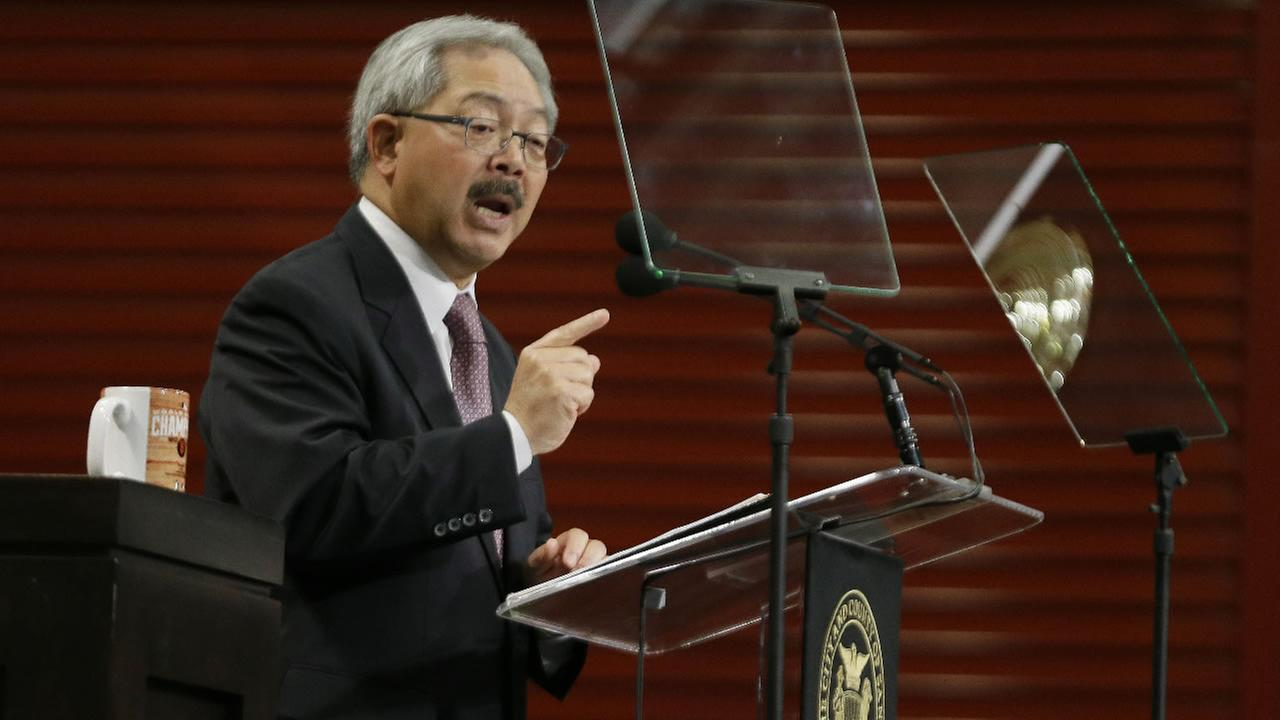 In this Jan. 15, 2015 file photo, San Francisco Mayor Ed Lee gestures while delivering his State of the City address in San Francisco.
