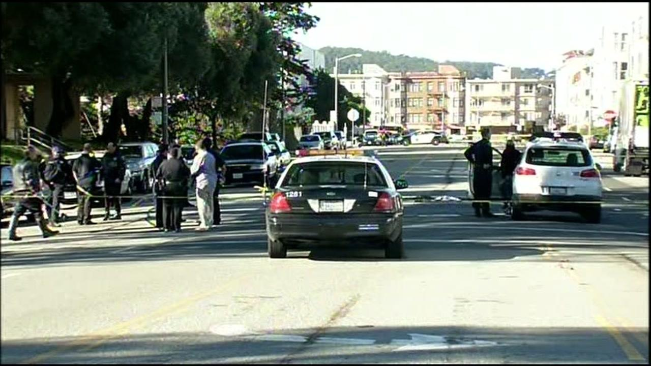 Police say two 12-year-old boys are in critical condition after they were hit by a white Volkswagen SUV in San Francisco on Wednesday, November 4, 2015.