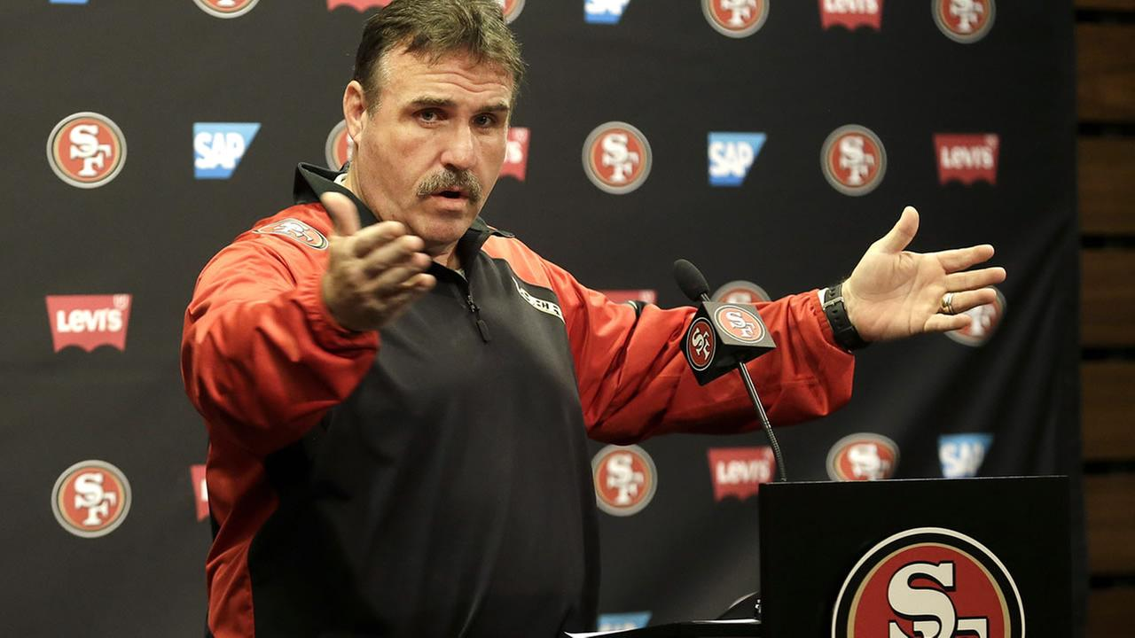 San Francisco 49ers head coach Jim Tomsula speaks during a news conference in Santa Clara, Calif., Wednesday, Nov. 4, 2015.  (AP Photo/Jeff Chiu)