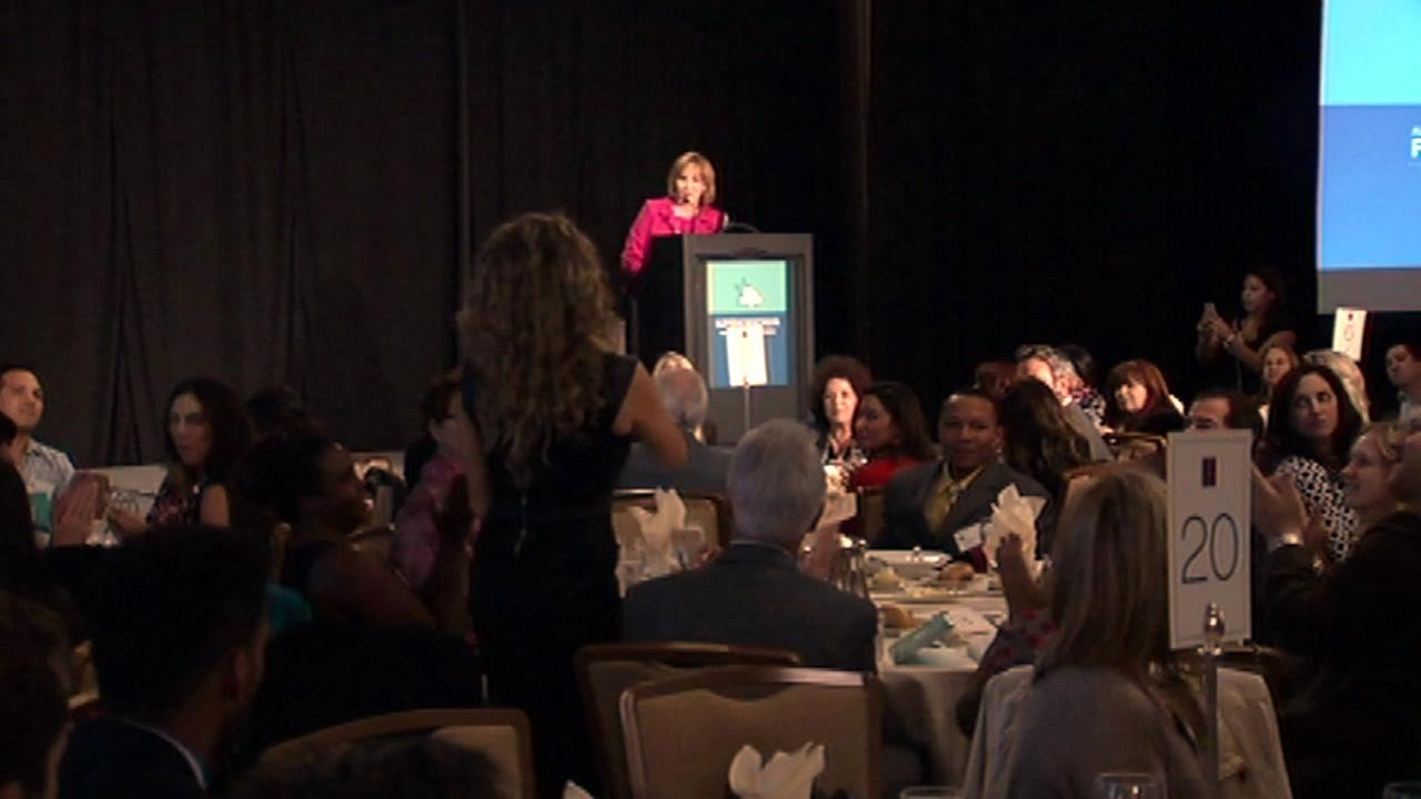 In this image, ABC7 News Anchor and Reporter Cheryl Jennings is seen emceeing an All Stars Project fundraiser in San Francisco on Thursday November 5, 2015.