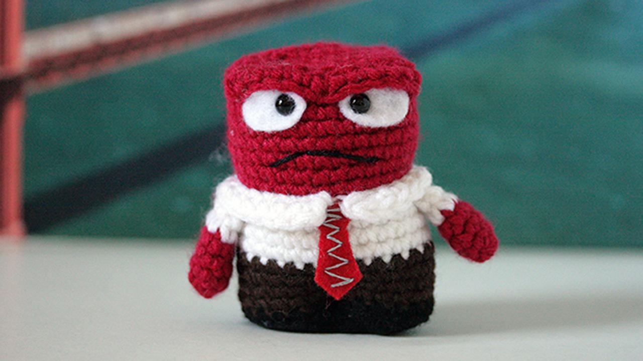 Crochet ninja will leave clues to find Pixar characters in San Francisco, Friday, November 6, 2015.
