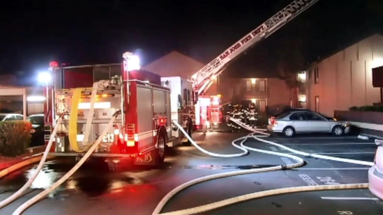Several people were displaced after a fire broke out at an apartment complex on Walnut Blossom Drive in San Jose, Calif. on Sunday November 8, 2015.