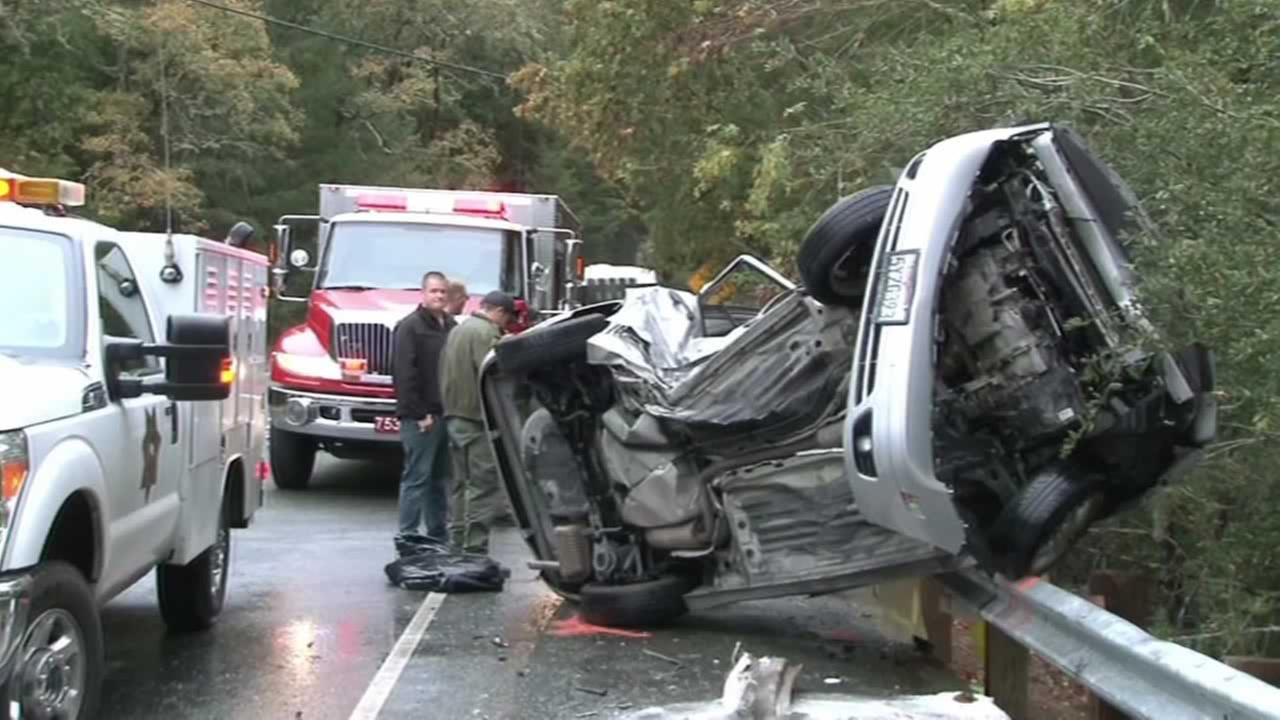 In Santa Rosa, Calif. a woman on Porter Creek Road drifted into another lane and lost control, flipping her car, on Sunday, November 8, 2015.