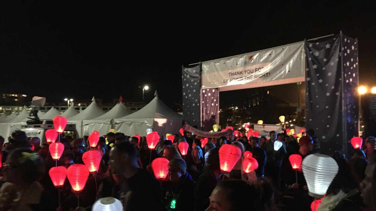 The Light the Night Walk gets underway at San FRanciscos AT&T Park in San Francisco November 11, 2015.