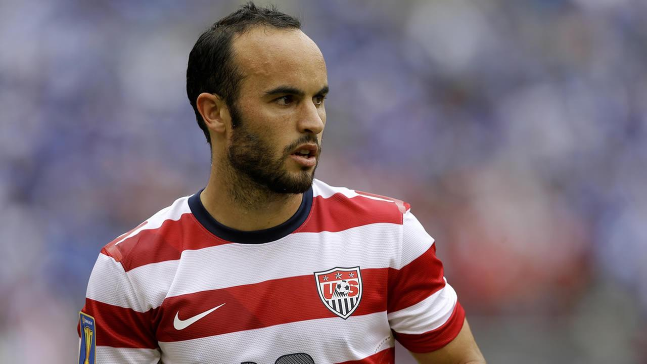 United States Landon Donovan looks on during the CONCACAF Gold Cup soccer tournament against El Salvador, July 21, 2013, in Baltimore. (AP Photo/Patrick Semansky)